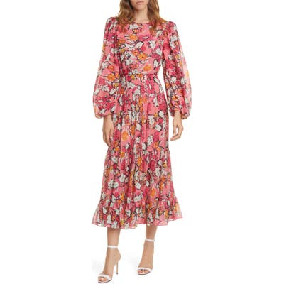 Saloni Isabel Floral Long Sleeve Silk Maxi Dress, Red