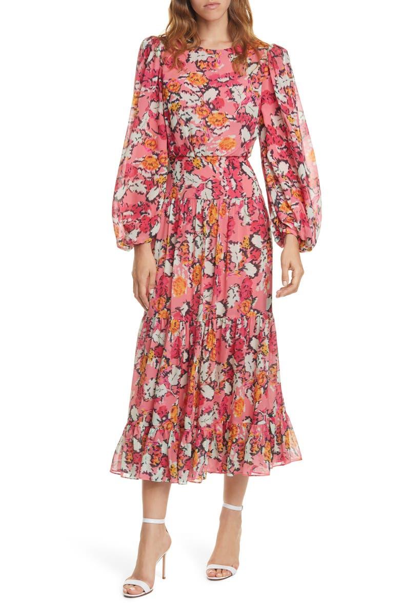 SALONI Isabel Floral Long Sleeve Silk Maxi Dress, Main, color, VALENTINE DAMASK