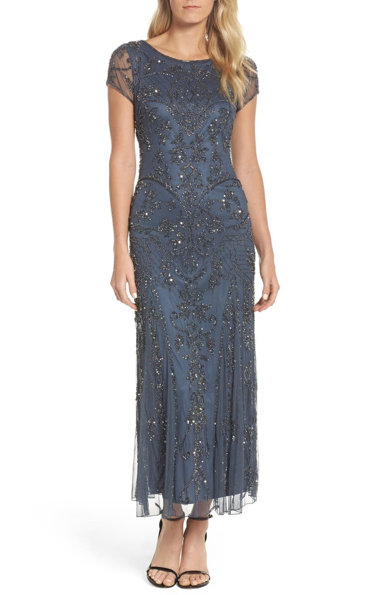 PISARRO NIGHTS Embellished Mesh Gown, Main, color, 020