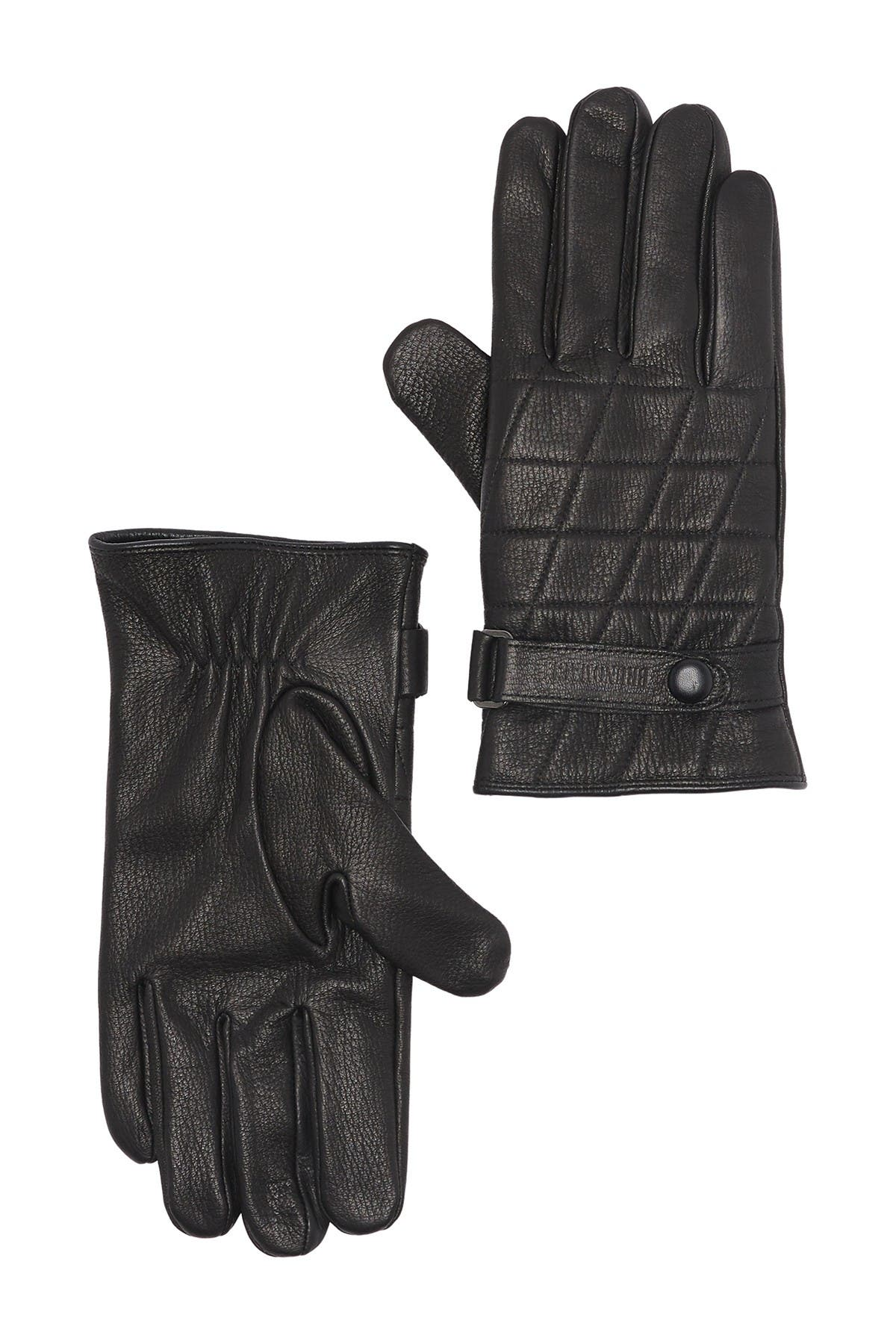 Image of Bruno Magli Cashmere Lined Quilted Leather Snap Button Gloves