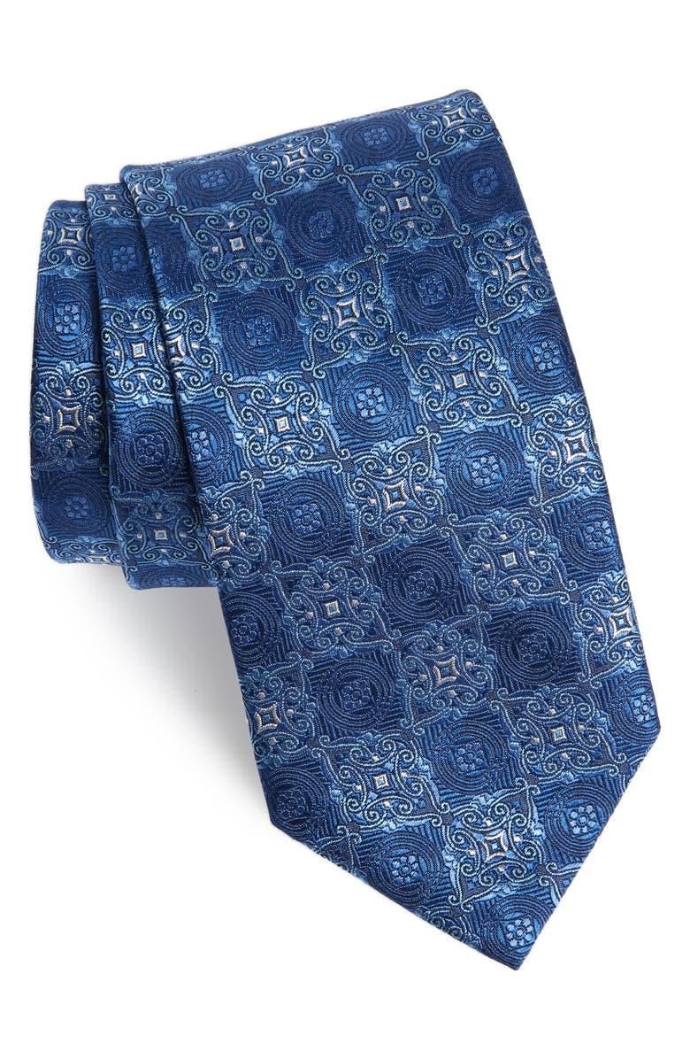 DAVID DONAHUE Medallion Silk Tie, Main, color, BLUE