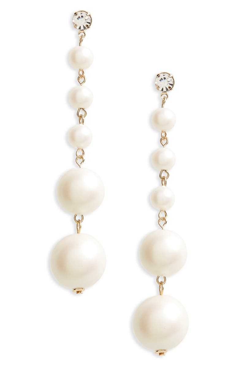 TOPSHOP Graduated Imitation Pearl Drop Earrings, Main, color, 101