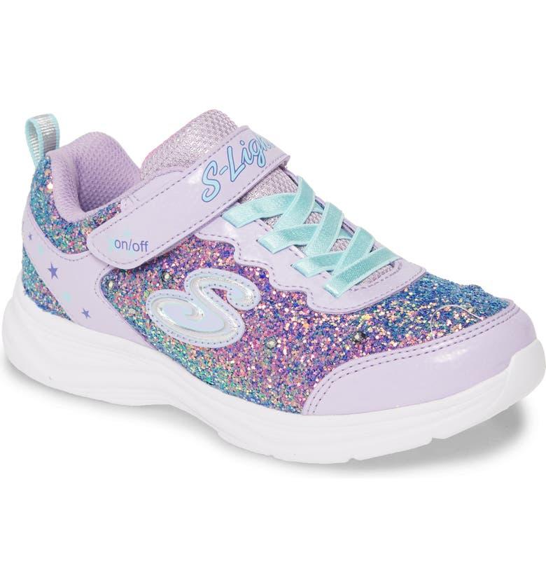 SKECHERS Glimmer Kicks Glitter Light-Up Sneaker, Main, color, LAVENDER/ AQUA