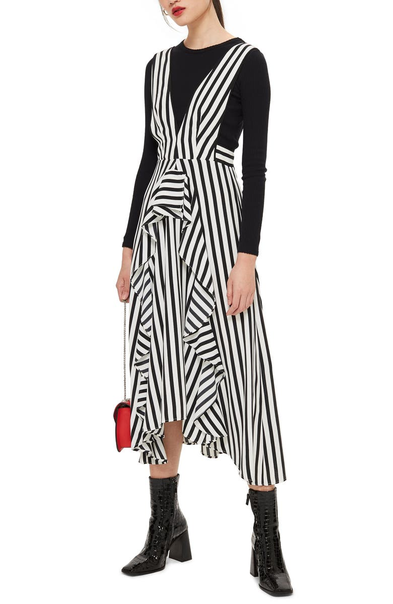 TOPSHOP Pinafore Midi Dress, Main, color, 100