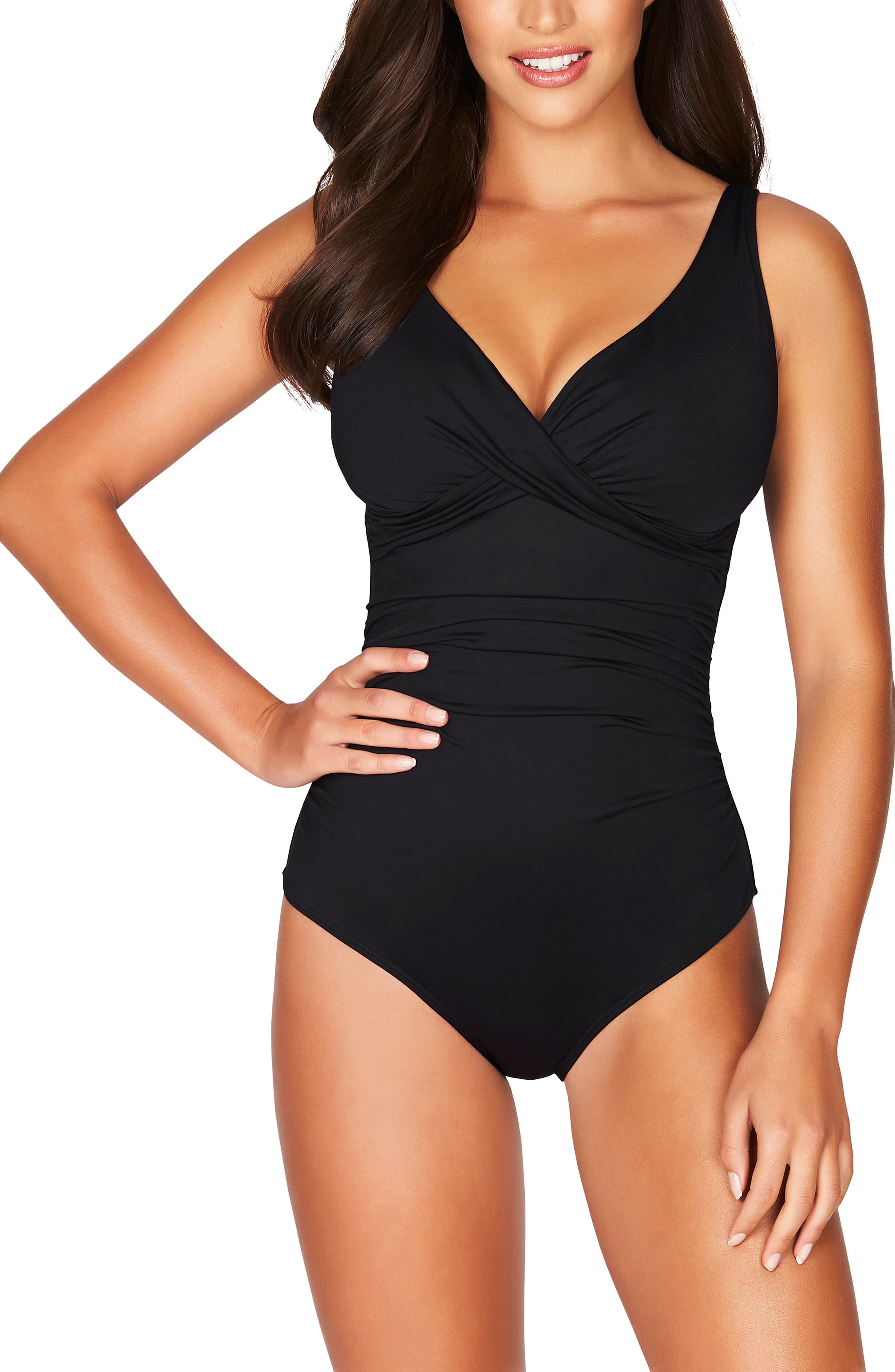 Sea Level Cross Front One-Piece Swimsuit, Black