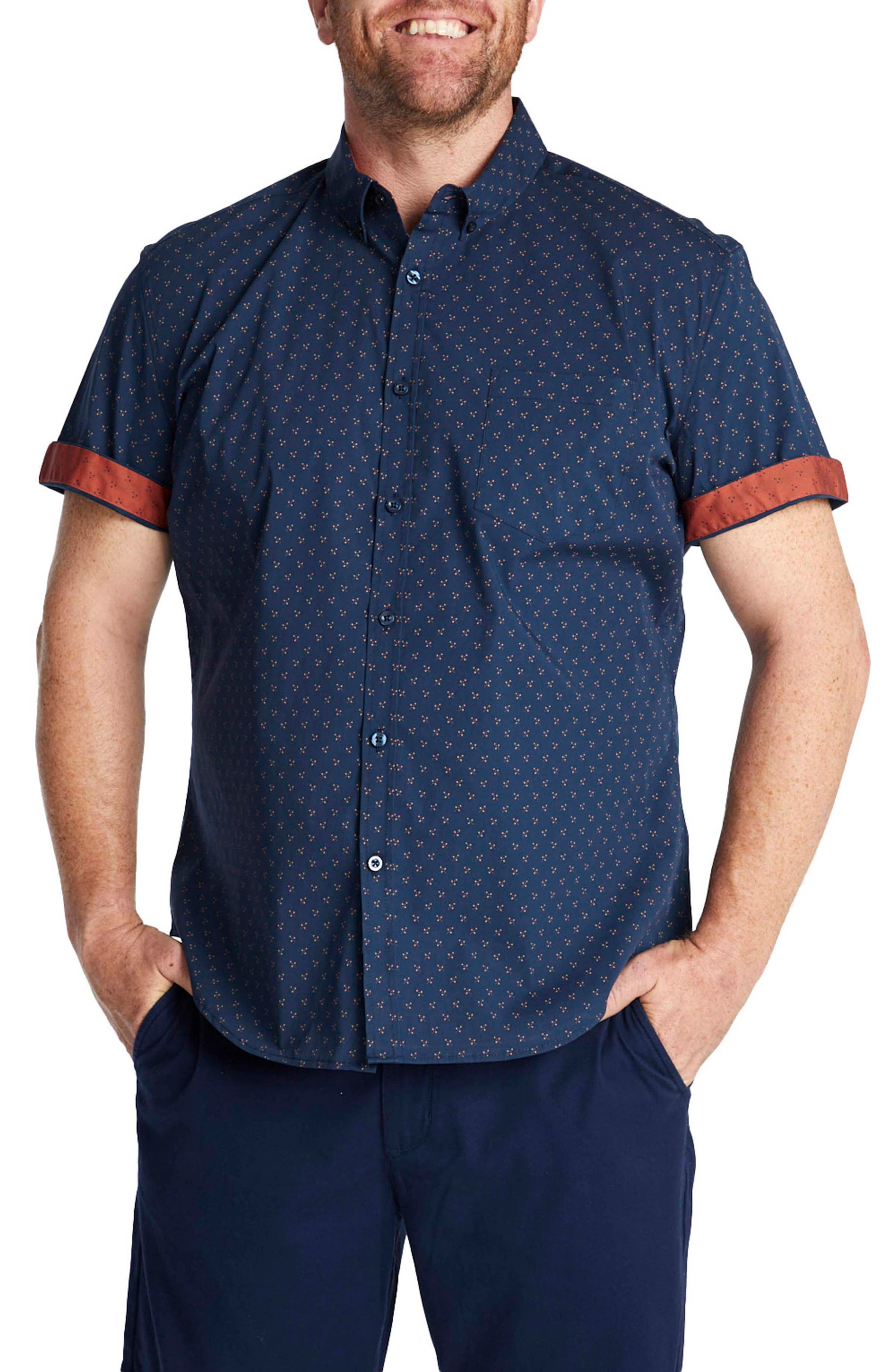 Marling Patterned Short Sleeve Stretch Button-Down Shirt