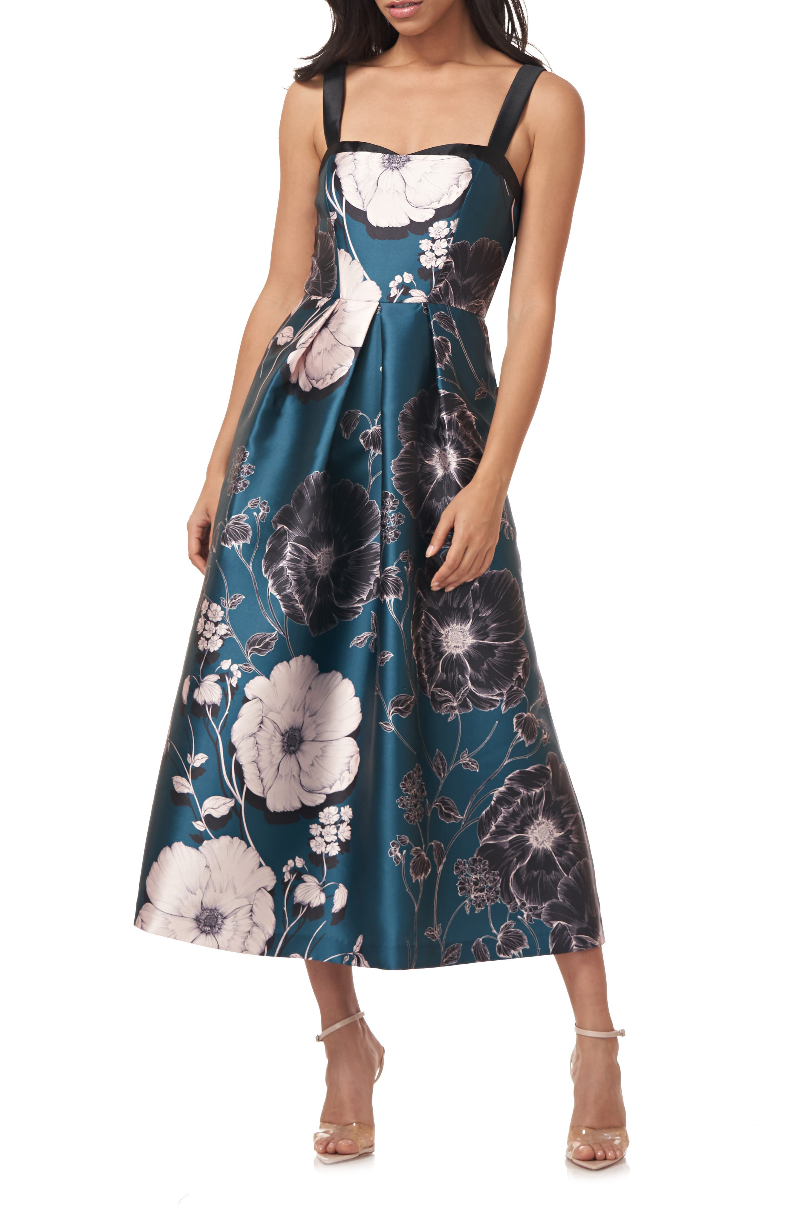 Floral Print Mikado Midi Cocktail Dress