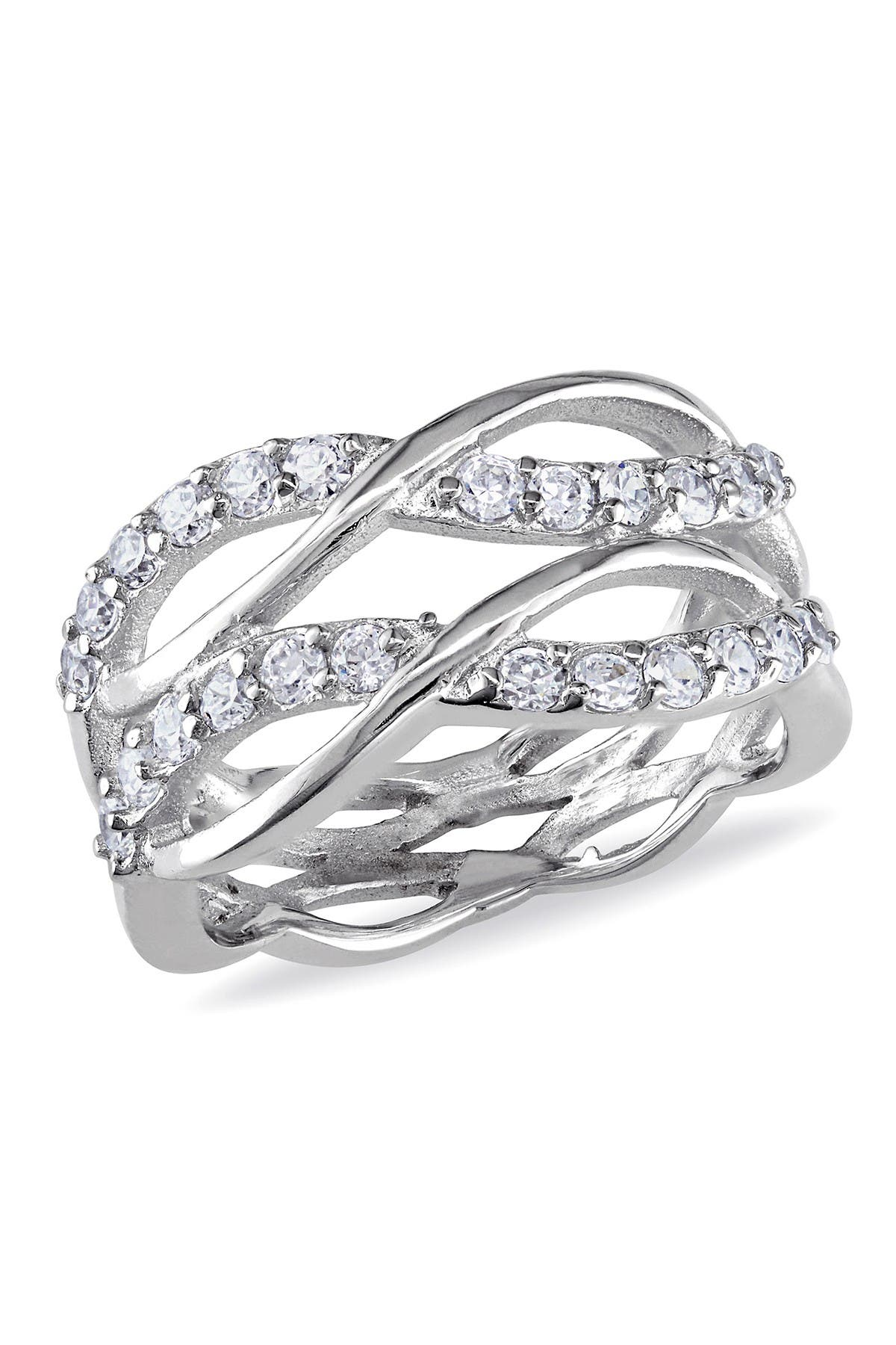 Image of Delmar Sterling Silver CZ Tiered Crisscross Ring