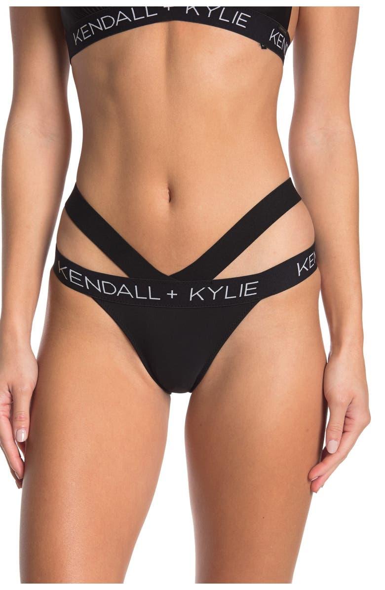KENDALL AND KYLIE Double Band Logo Bikini Bottoms, Main, color, BLACK