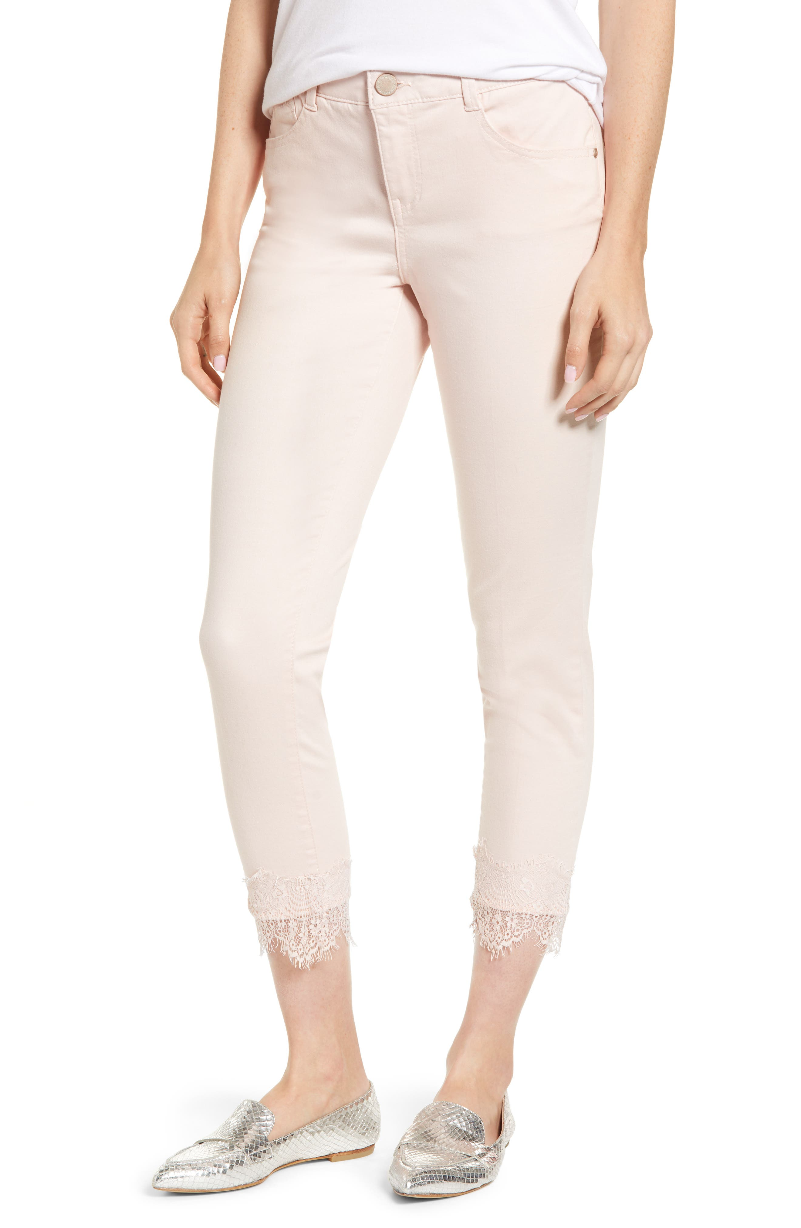 Ab-Solution Lace Hem Ankle Skinny Pants, Main, color, WISPER PINK
