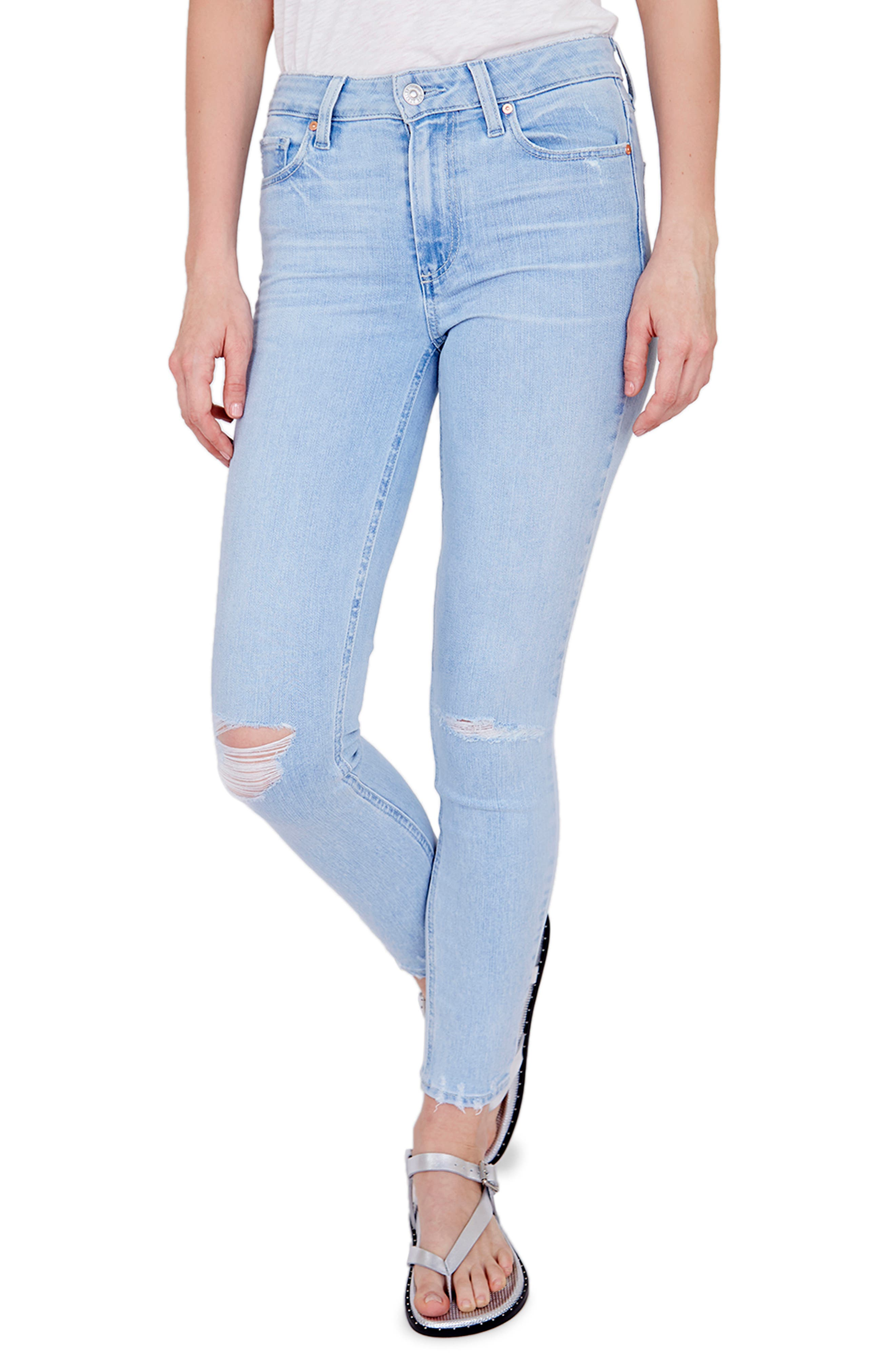 Women's Paige Hoxton Ripped High Waist Ankle Skinny Jeans