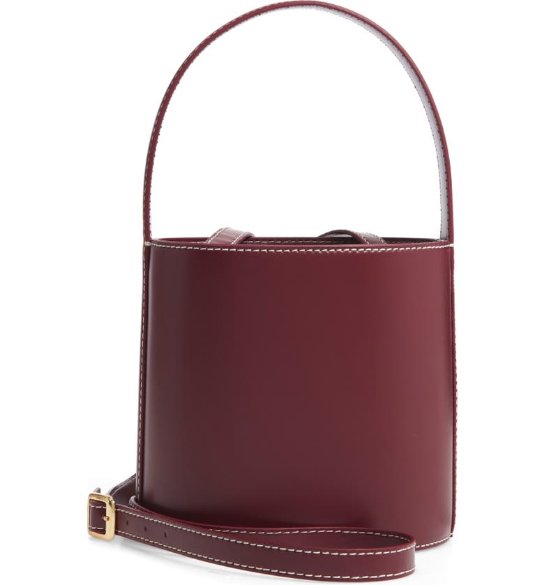 STAUD Bissett Leather Bucket Bag, Main, color, BORDEUX