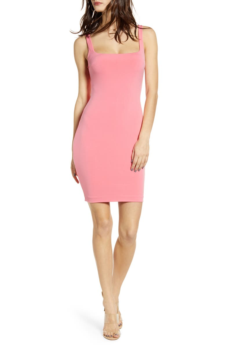 LEITH Square Neck Body-Con Minidress, Main, color, PINK LEMONADE