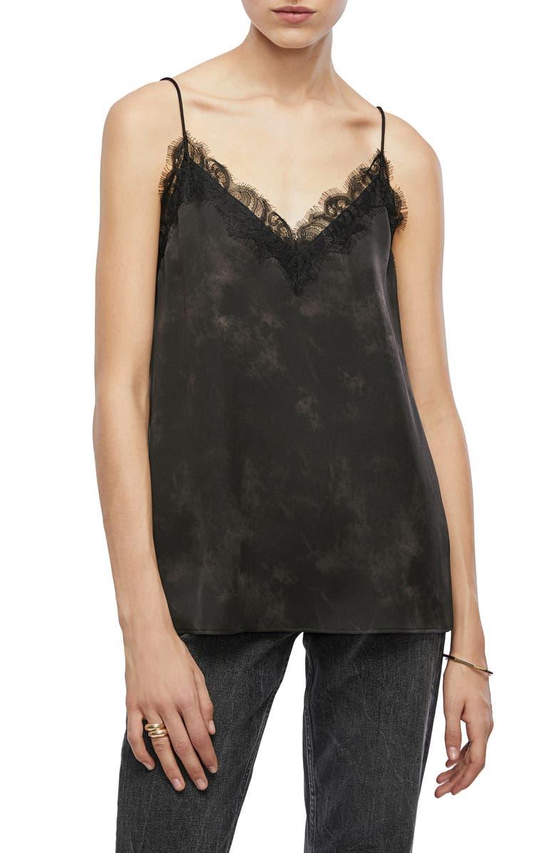 ANINE BING Belle Lace Trim Silk Camisole, Main, color, 005