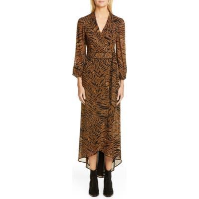 Ganni Tiger Print Georgette Midi Wrap Dress, Brown