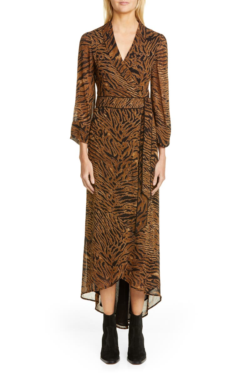 GANNI Tiger Print Georgette Midi Wrap Dress, Main, color, TIGER