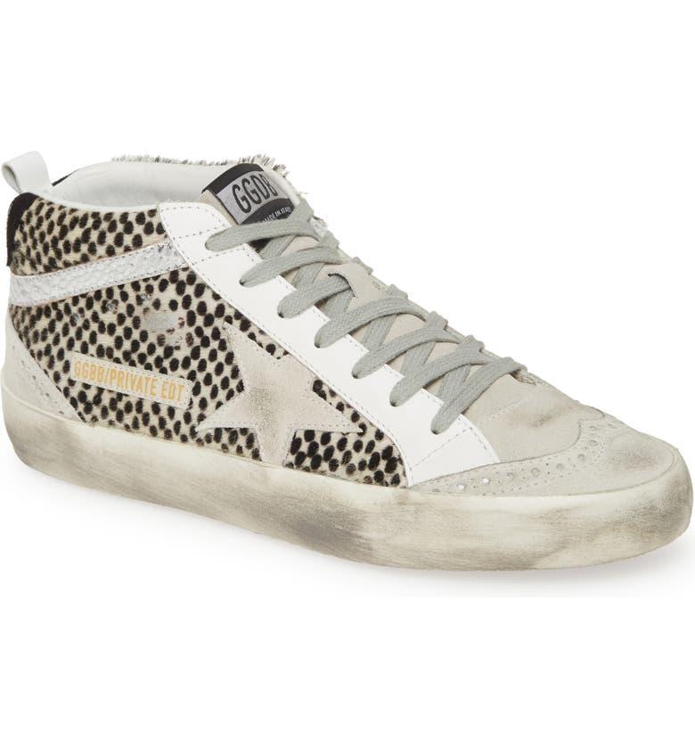 GOLDEN GOOSE Midstar Genuine Calf Hair Sneaker, Main, color, WHITE/ BLACK CALF HAIR