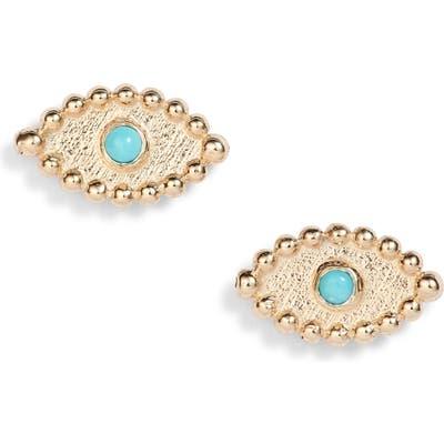 Anzie Dew Drop Turquoise Evil Eye Stud Earrings