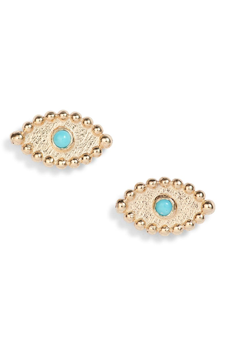 ANZIE Dew Drop Turquoise Evil Eye Stud Earrings, Main, color, GOLD
