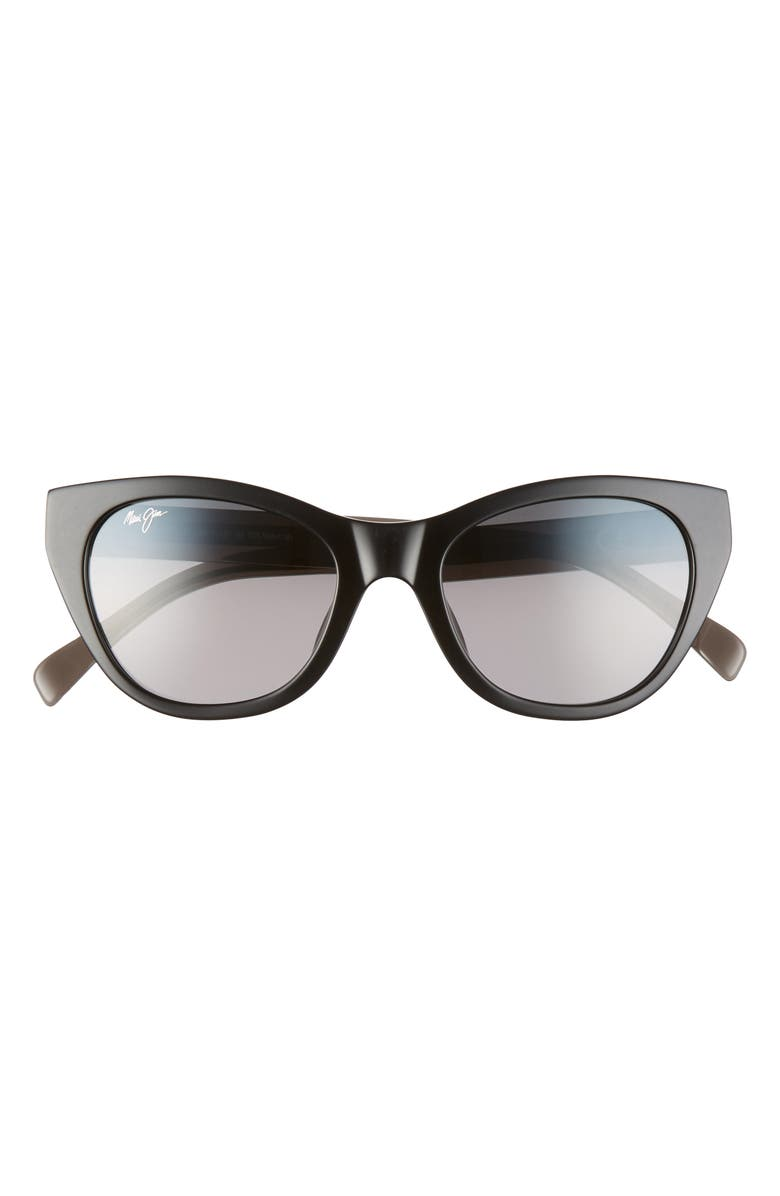 MAUI JIM Capri 51mm PolarizedPlus2<sup>®</sup> Cat Eye Sunglasses, Main, color, BLACK/ TRANSPARENT GREY