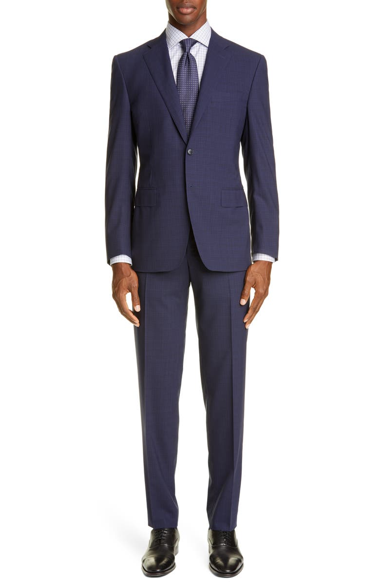 CANALI Sienna Soft Impeccabile Trim Fit Solid Wool Suit, Main, color, NAVY