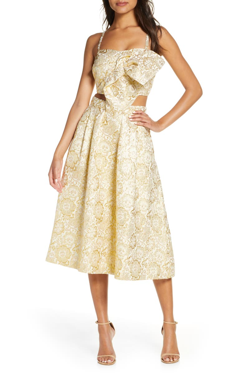 LILLY PULITZER<SUP>®</SUP> Dalsey 2-Piece Party Dress, Main, color, GOLD BLOOMING FLORAL BROCADE