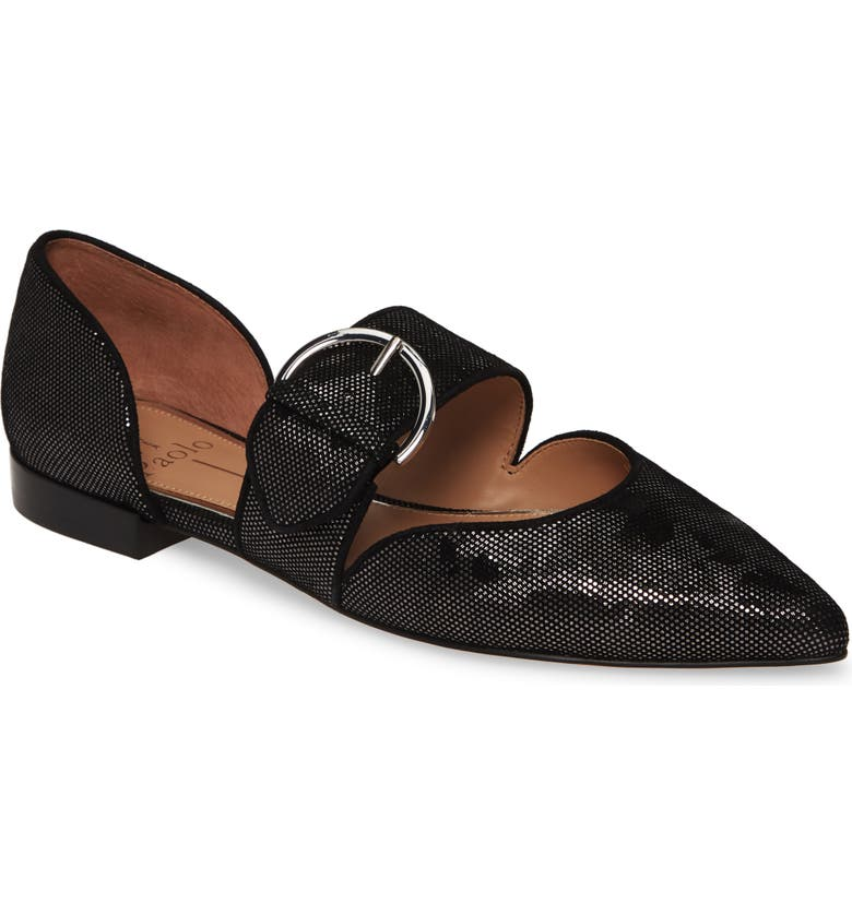 LINEA PAOLO Dean Pointy Toe Flat, Main, color, BLACK/ SILVER NAPPA LEATHER