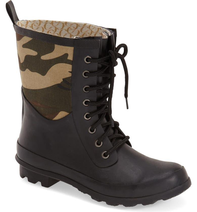 CHOOKA 'Cara' Mid High Lace-Up Rain Boot, Main, color, 312