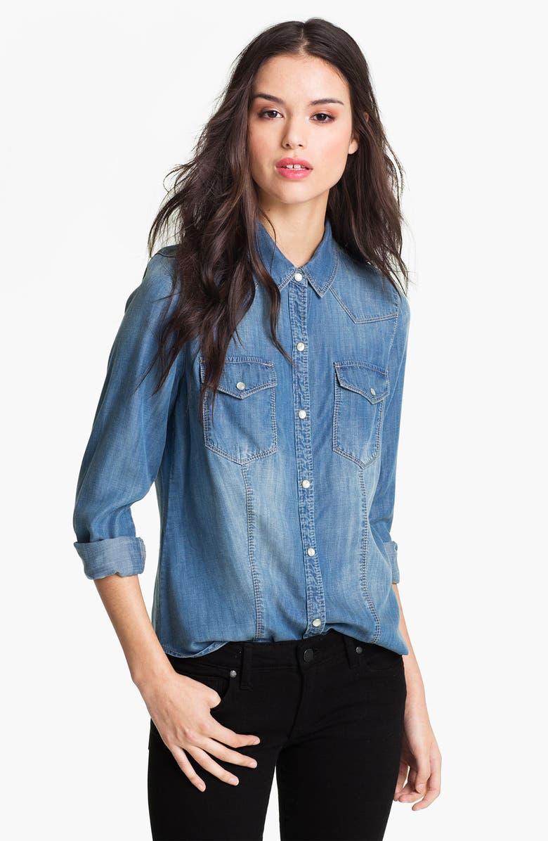 TROUVÉ Flap Pocket Denim Shirt, Main, color, 450
