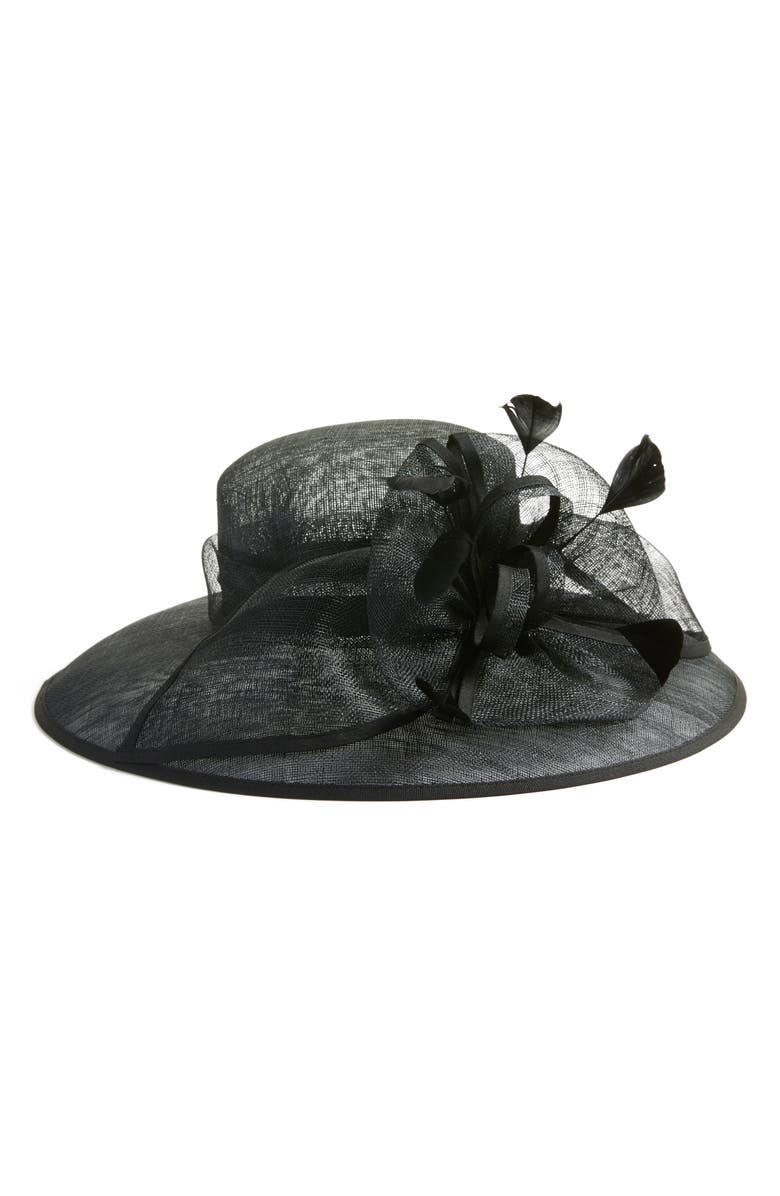 NORDSTROM Feathered Sinamay Hat, Main, color, 001