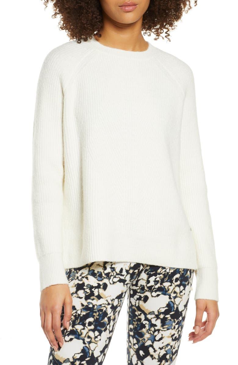 SWEATY BETTY Crewneck Sweater, Main, color, LILY WHITE