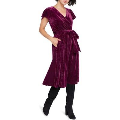 Plus Size Modcloth Faux Wrap Velvet Dress, Burgundy