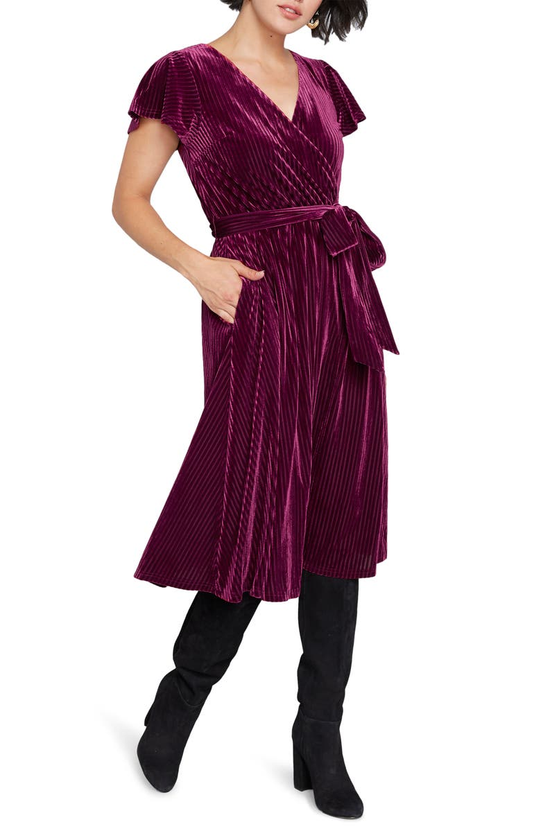 MODCLOTH Faux Wrap Velvet Dress, Main, color, WINE