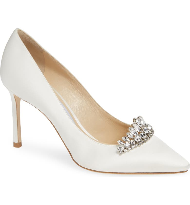 JIMMY CHOO Romy Crystal Tiara Satin Pump, Main, color, IVORY/ CRYSTAL
