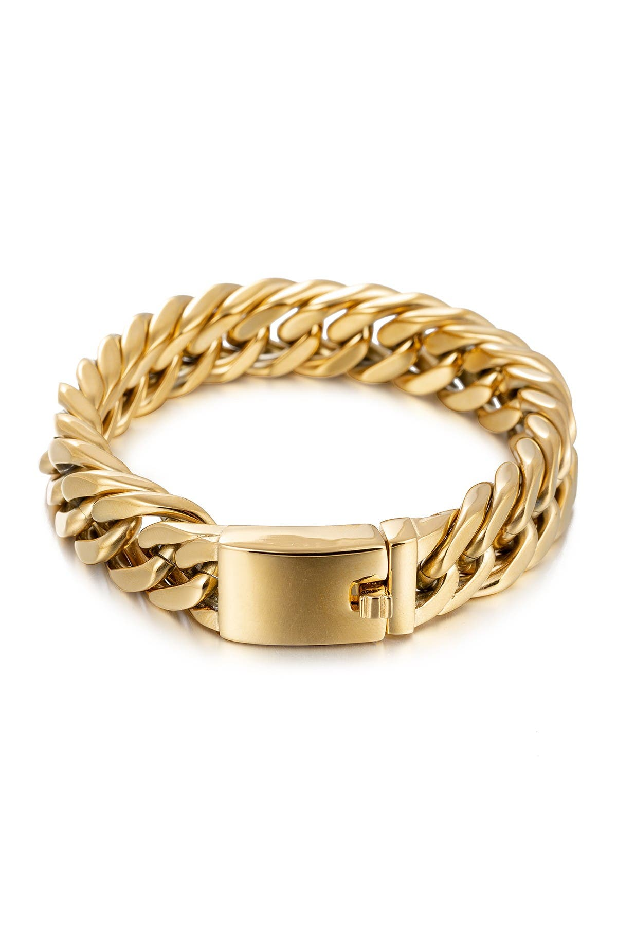 Image of Eye Candy Los Angeles Christian 18K Gold Plated Titanium Chain Bracelet