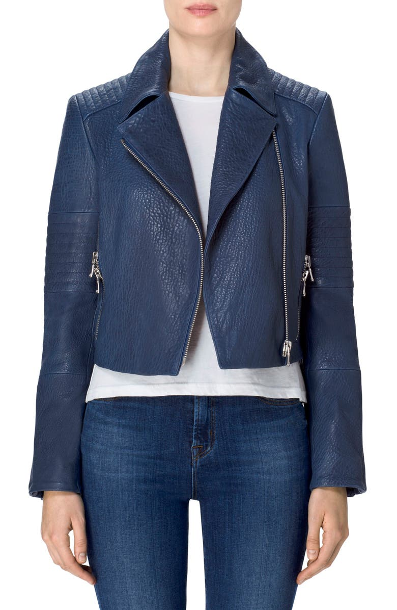 J BRAND Aiah Leather Moto Jacket, Main, color, 002