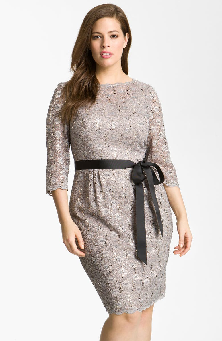 ALEX EVENINGS Sequin Lace Sheath Dress, Main, color, 100