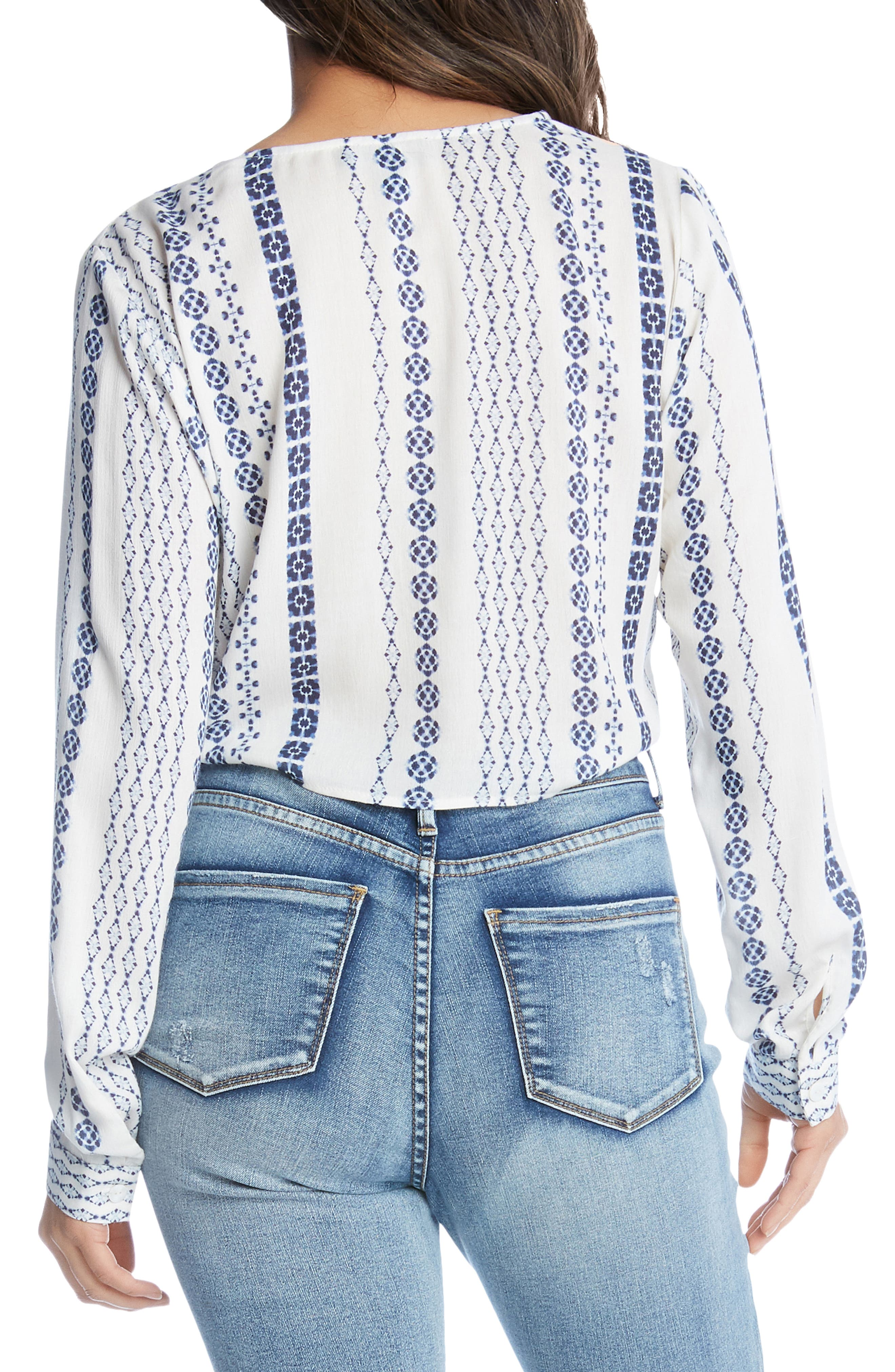 ,                             Printed Tie Front Top,                             Alternate thumbnail 2, color,                             PRINT