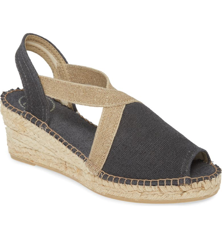 TONI PONS Breda Sandal, Main, color, BLACK FABRIC