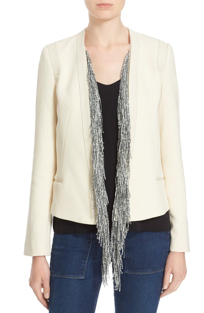 FOUNDRAE Leather Trim Cotton Jacket with Removable Fringe Silk Vest, Main, color, 250