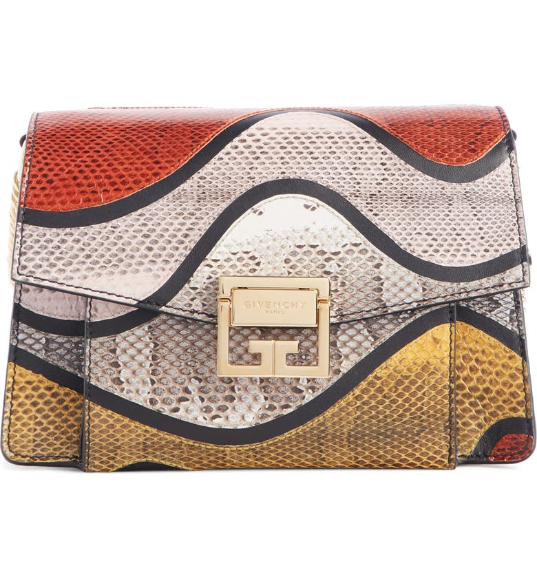 GIVENCHY Small GV3 Genuine Snakeskin & Leather Crossbody Bag, Main, color, WHITE