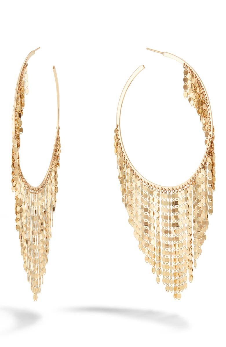 LANA JEWELRY Casino Fringe Hoop Earrings, Main, color, YELLOW GOLD