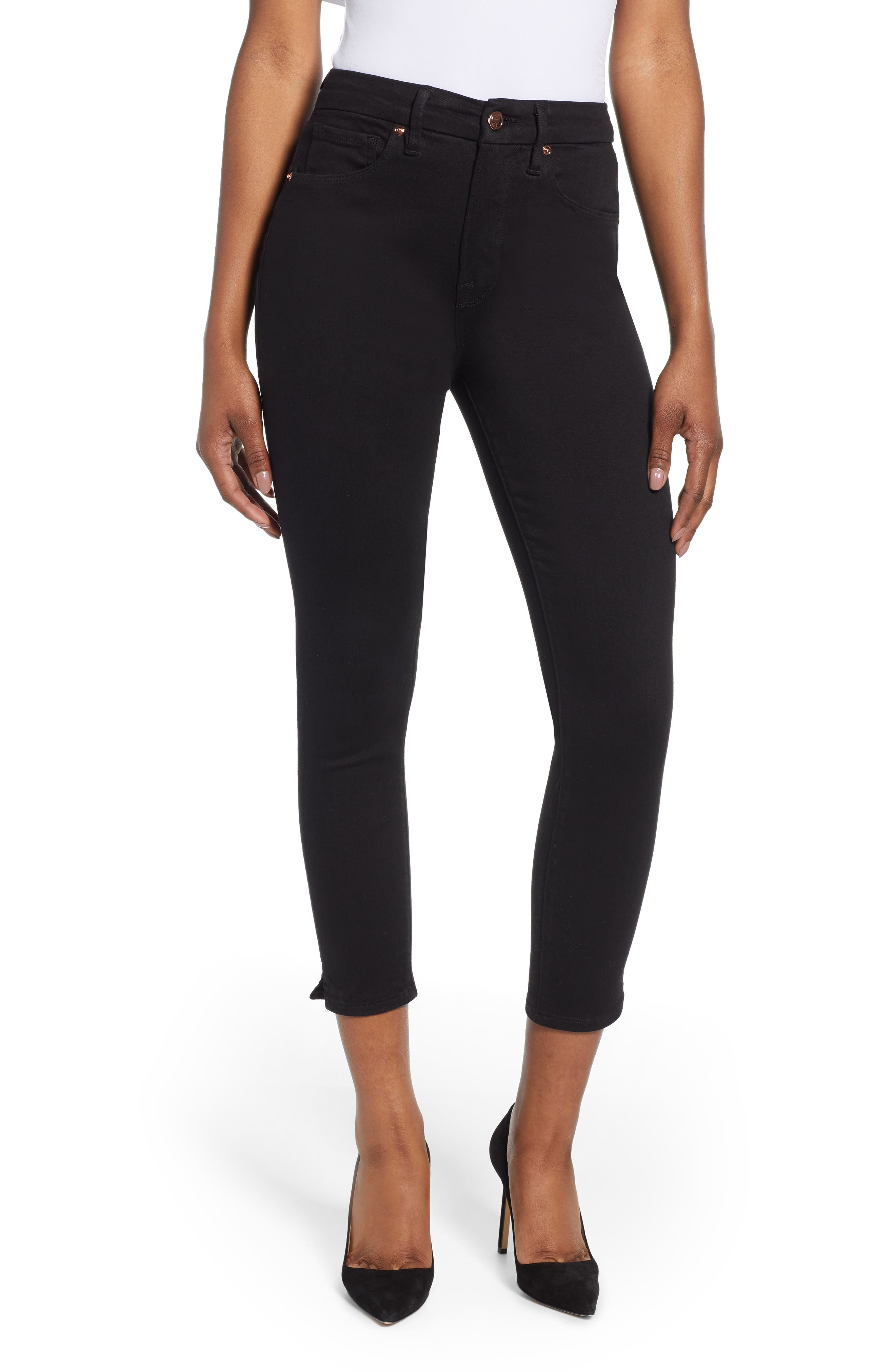 ,                             Good Legs Split Hem Ankle Skinny Jeans,                             Main thumbnail 1, color,                             BLACK001