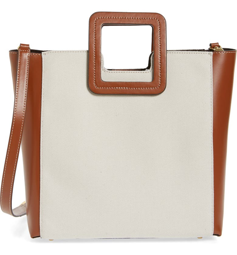STAUD Shirley Canvas & Leather Handbag, Main, color, NATURAL/ BROWN