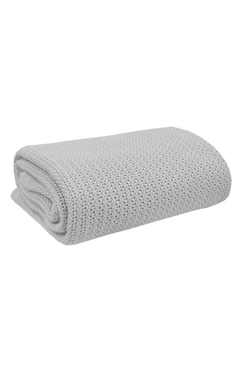 LIVING TEXTILES Organic Cotton Thermal Knit Baby Blanket, Main, color, GREY