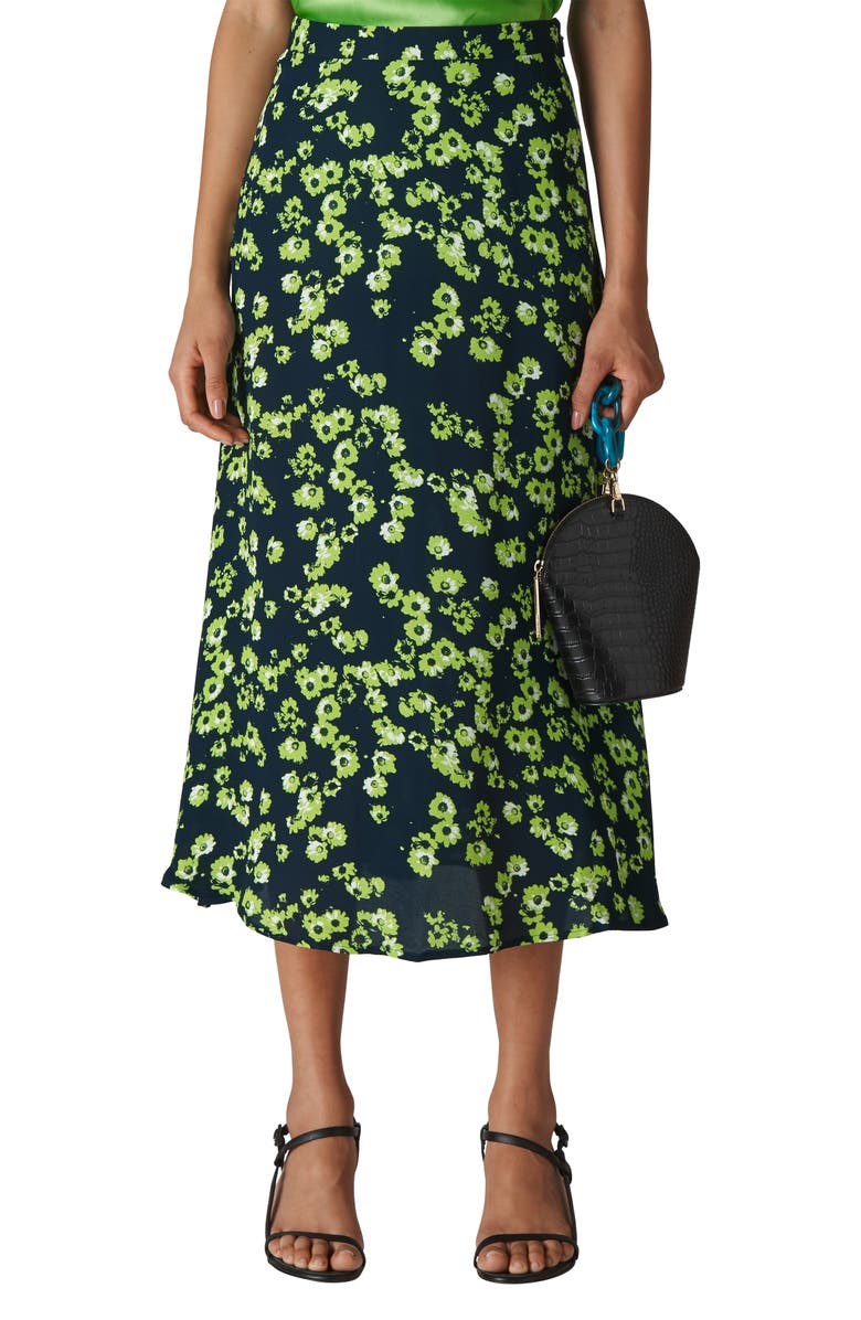 WHISTLES Digital Daisy Print Midi Skirt, Main, color, NAVY/ MULTI