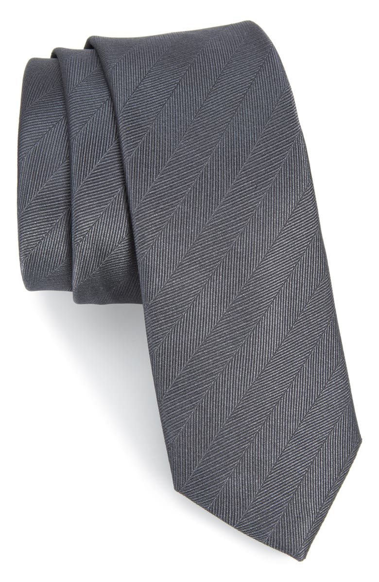 THE TIE BAR Herringbone Vow Silk Tie, Main, color, 020