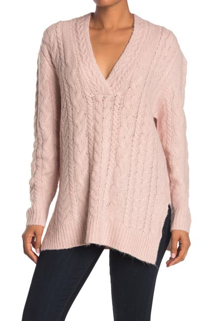 Image of Cloth By Design Deep V Cozy Yarn Cable Knit Sweater