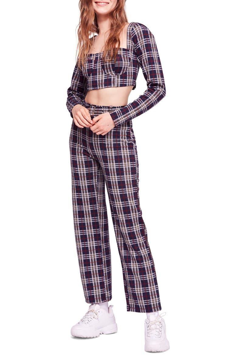 Free People Modern Love Plaid Crop Top Belted Pants Nordstrom