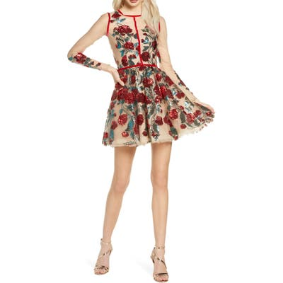 Bronx And Banco Rafaella Floral Sequin Long Sleeve Minidress, Red